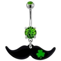 Green Clover Mustache Belly Ring