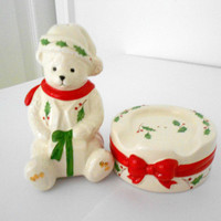 Christmas salt and pepper shakers Lenox bear servingware