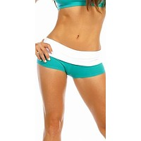 Sexy Balance Roll Down Top Athletic Yoga Hot Pants - Teal/White
