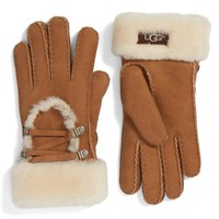 UGG® Lace Up Genuine Shearling Gloves | Nordstrom