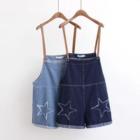 Star Patchwork Denim Ladies Overalls