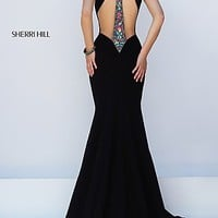 Black Sherri Hill Long Multi Color Stone Embellished Gown