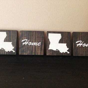 Customizable Louisiana Wood Coasters, Set of 4, Stained and Hand Painted, Personalize, Home decor