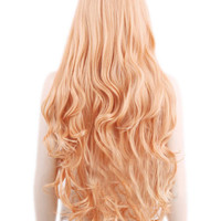 Orange Heat-resistant Fiber Side Parting Long Wig
