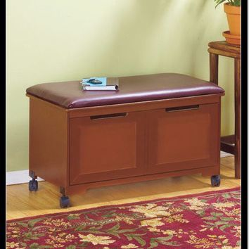 CUSHIONED FILE BENCH WALNUT WOOD ROLLERS ORGANIZATION STORAGE OFFICE HOME DECOR