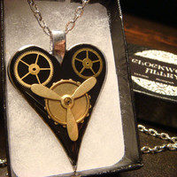 Clockwork Heart with Gears Steampunk Necklace- (1868)