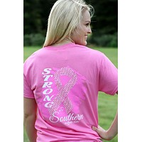 Southern Darlin Strong & Southern Pink Ribbon Breast Cancer Awareness Bow Bright Girlie T-Shirt