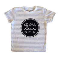 Light Grey Striped Crew Neck Tee with Black Full Outlined Logo