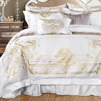 White Egyptian Cotton Bedding set US King Queen size Chic Golden Embroidery Bedding sets Super Soft Bed sheet set Duvet cover