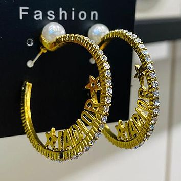 DIOR 925 Popular Women Personality Golden Letter Pendant Long Style Earrings Accessories #8