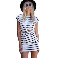 Fashion Arrival Summer Women Short Sleeve Cut Out Twisted Knot  Mini Dress