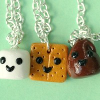 Handmade S'Mores Three-Way Best Friend Necklaces - Whimsical & Unique Gift Ideas for the Coolest Gift Givers