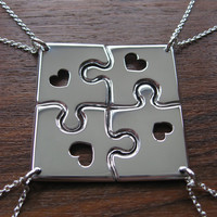 Four Corner Puzzle with Hearts, Silver Pendant Necklaces