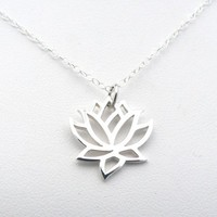Lotus Sterling Silver Necklace Outline Flower Pendant Charm Jewelry Nature