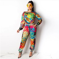 Women Casual Print Long Sleeve Top Pants Set Two Piece Sportswear