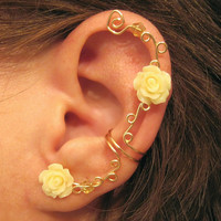 Non Pierced Ear Cuff  Climbing Roses by ArianrhodWolfchild on Etsy