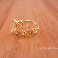 Love Word Ring, Wire Wrapped, 14k Gold