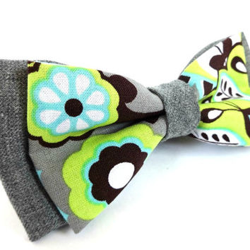 Floral Bow Tie with Grey Background and Green, Blue and Brown Floral Pattern, Man Bow Tie