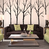Winter Leafless Trees Silhouettes Forrest - Vinyl Wall Art Decal for Homes, Offices, Kids Rooms, Nurseries, Schools, High Schools, Colleges, Universities, Events