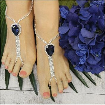 HOPE  teardrop jewel barefoot sandals - navy