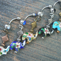 Lucky elephant belly ring PICK ONE  cloisonne sacred elephant belly dancer zen yoga boho hipster fantasy  tribal fusion style