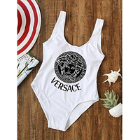Versace Word Print Women Sexy One Piece Vest Type Bikini White(black print)