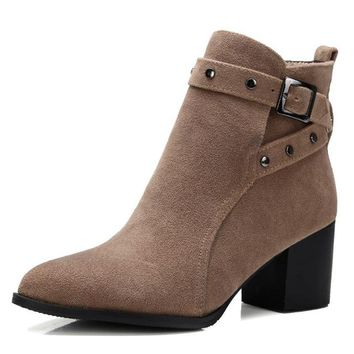 Cross Buckle Strap Ankle Boots 3 Colors Size 4 to 17