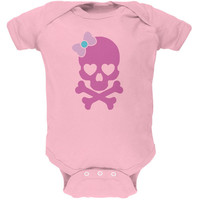 Halloween Pink Skull and Bow Light Halloween Pink Soft Baby One Piece