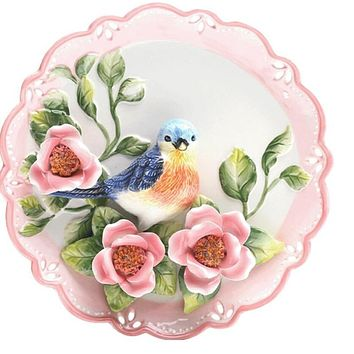 Ceramic Emboss Bird Flower Decorative Hanging  Wall Plate