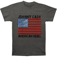 Johnny Cash Men's  American Rebel Flag T-shirt Heather