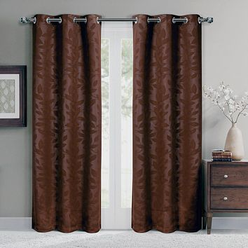 Chocolate 74x63 Virginia Blackout Grommet (Set of 2) Panels
