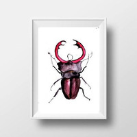 Stag beetle watercolor painting insect boy kid nursery decor print simple wall art from original artwork 4x6 5x7 8x10 11x14 16x20 24x36 art