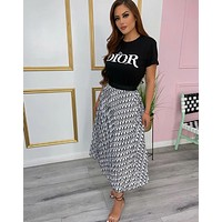 DIOR Women With short sleeves Top long skirt Two-Piece