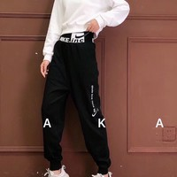 """NIKE"" Woman's Leisure Fashion  Letter  Printing Long  Sleeve Sweatshirt Tops Trousers Two-Piece Set Casual Wear"