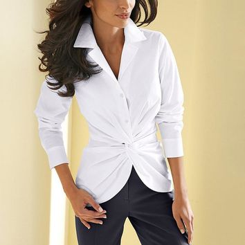New Casual White Women Blouse Ladies Solid Elegant V-neck Blouses Long Sleeve OL Office Shirt Plus Size 1064