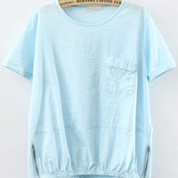 Light Blue Short Sleeve Pocket Zipper Blouse