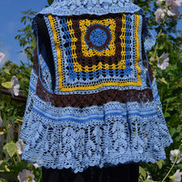 "Vest knitted ""Tropical bird"""
