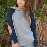 In My Dreams Heather Grey Elbow Patch Pullover Hoodie