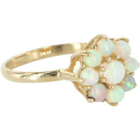 Opal Flower Cluster Ring Vintage 14 Karat Yellow Gold Estate Fine Jewelry Sz 6