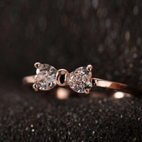 CZ Diamond rings Gold Plated finger Bow ring wedding engagement Zircon Crystal Rings Jewelry Women Ring G27