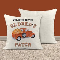 """Personalized Fall Pillow Cover Pumpkin Throw Pillow Case Welcome To Our Patch Custom Decor Pillow 16"""" Square Linen"""