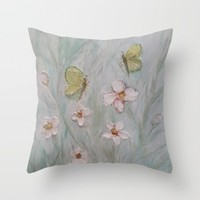 Butterfly Wishes and Flower Kisses Throw Pillow by RokinRonda