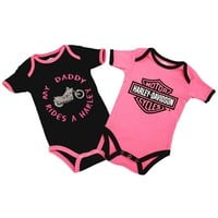 Harley-Davidson Baby Girls' Daddy Rides A Harley Creeper 2-Pack 1103052
