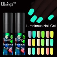 Ellwings Fluorescent Neon Luminous Nail Gel Polish Soak Off UV Gel Glow in Dark Gel Varnish Color Change Gel Nail