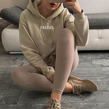 UNISEX Yeezus Kanye West Hoodie Jumper Yeezy Tour Sweatshirt Nude Beige Tan S, M, L, XL (Also in Black)