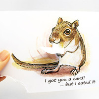 Cute Gerbil Card, Pet Print, Custom Card, Blank Greeting Card, Mouse Art, Thinking of You, Personalized Card, Funny Card