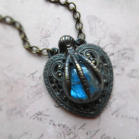 Romantic gothic steampunk labradorite necklace / heart, bird claw, labradorite, sterling silver plated brass