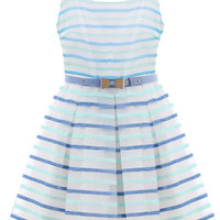 Blue Strappy Striped Pleated Dress