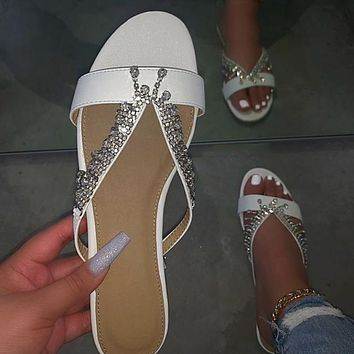 All-match pearl sandals and slippers with diamonds handmade beaded flat sandals