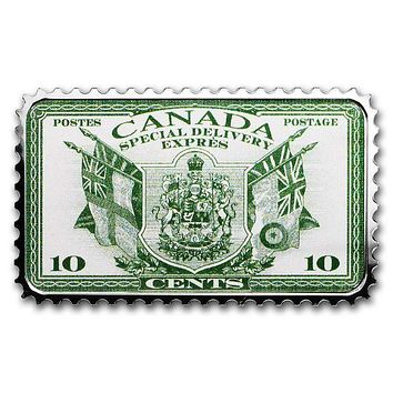 2019 Canada 1 oz Silver $20 Historical Stamps: Coat of Arms and Flags